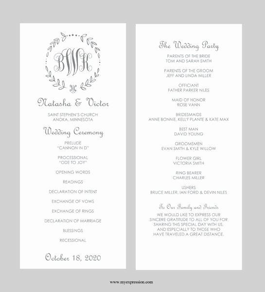 Free Download Wedding Program Template Beautiful Wedding Program Template – Tea Length Gray Leaf Monogram