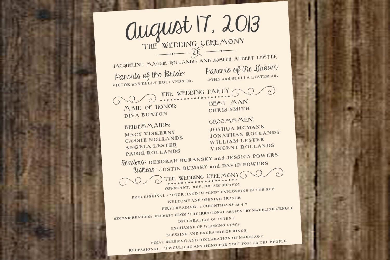 Free Download Wedding Program Template Best Of Wedding Program Ivory F White Diy Printable Rustic