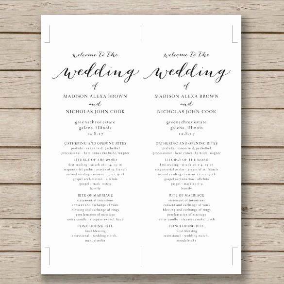 Free Download Wedding Program Template Fresh Wedding Program Template 41 Free Word Pdf Psd