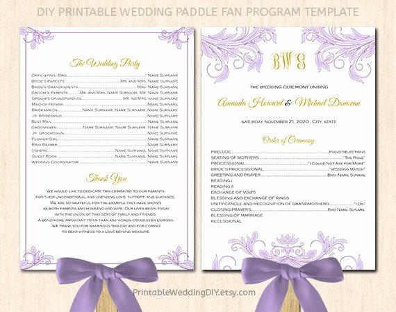 Free Download Wedding Program Template Inspirational Fan Wedding Program Template Printable Fan Program Instant
