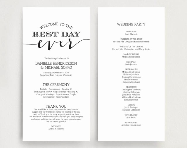 Free Download Wedding Program Template Lovely Wedding Programs Wedding Program Instant Download