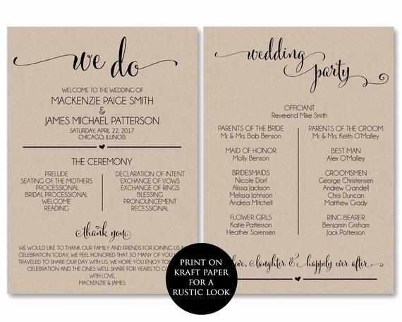 Free Download Wedding Program Template New Wedding Program Template Wedding Program Printable We Do