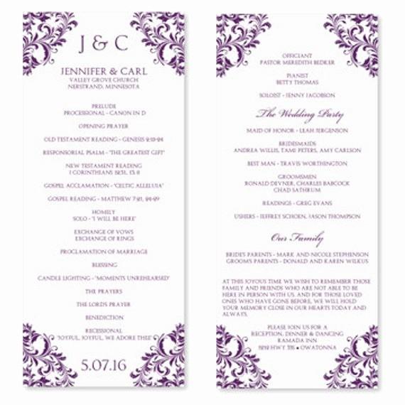 Free Download Wedding Program Template Unique Wedding Program Template Instant Download Edit by