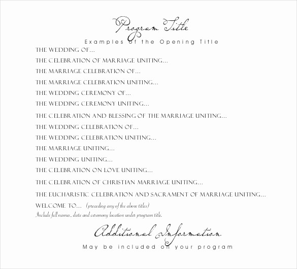Free Download Wedding Program Template Unique Wedding Program Templates – 15 Free Word Pdf Psd