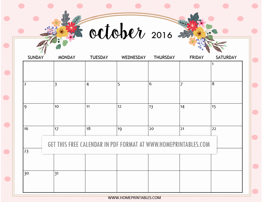 cute free printable 2016 calendar