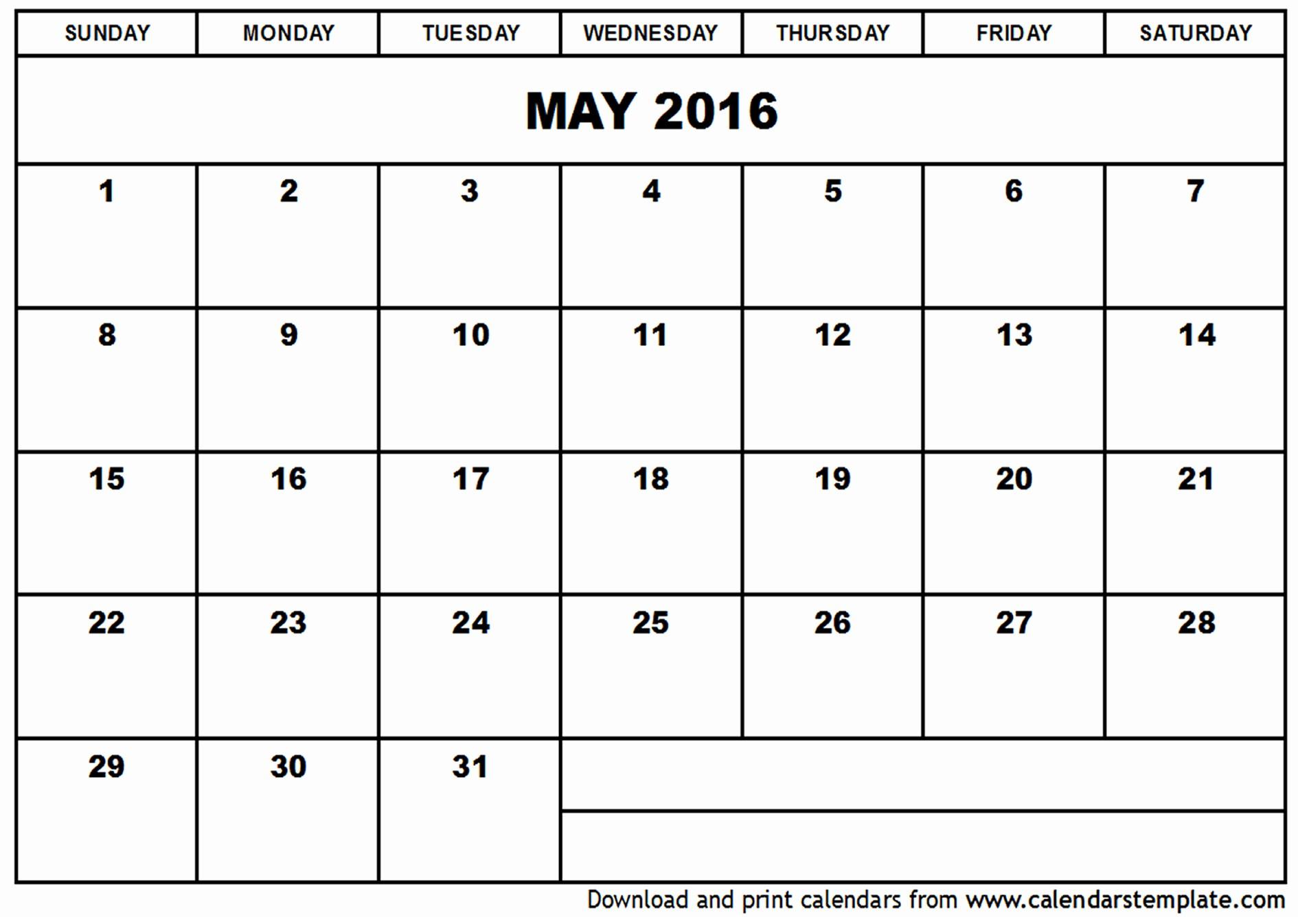 Free Downloadable 2016 Calendar Template Best Of May 2016 Calendar Template