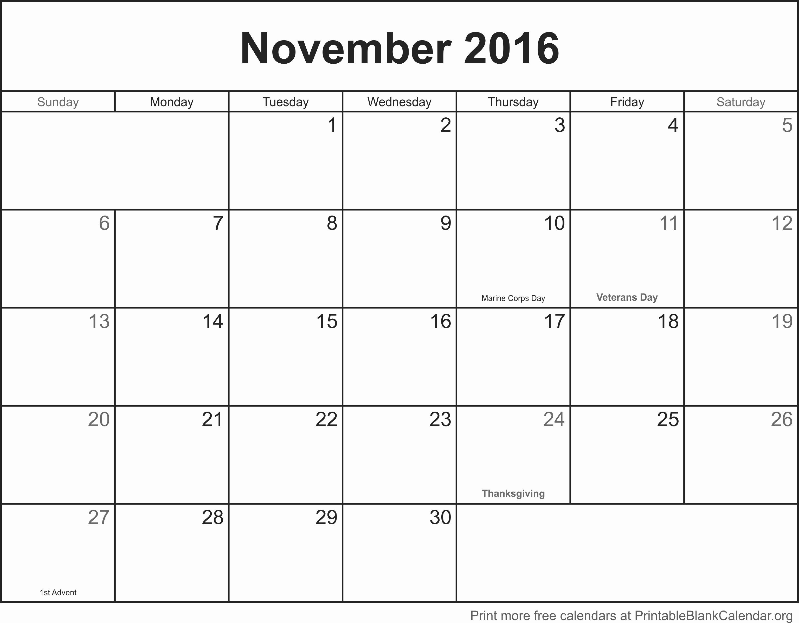 Free Downloadable 2016 Calendar Template Best Of November 2016 Printable Blank Calendar Printable Blank
