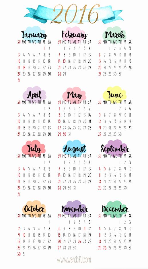 Free Downloadable 2016 Calendar Template Inspirational Free Printable A5 2016 Calendar
