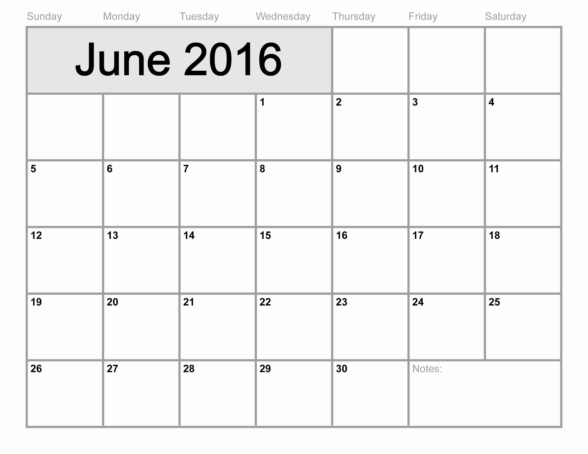 Free Downloadable 2016 Calendar Template Inspirational June 2016 Printable Calendar Blank Templates