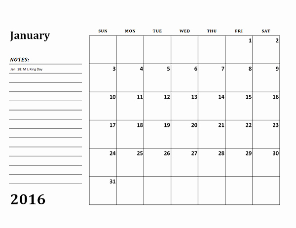 Free Downloadable 2016 Calendar Template Lovely 2016 Monthly Calendar Template 03 Free Printable Templates