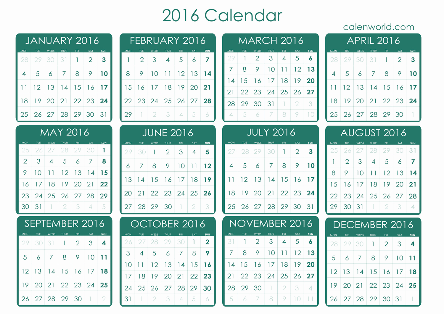 Free Downloadable 2016 Calendar Template Luxury 2016 Calendar 2016 Free Printable Calendar