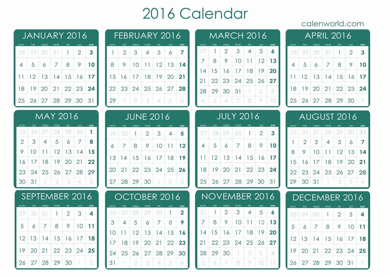 Free Downloadable 2016 Calendar Template Luxury 2016 Calendar 2016 Free Printable Calendar