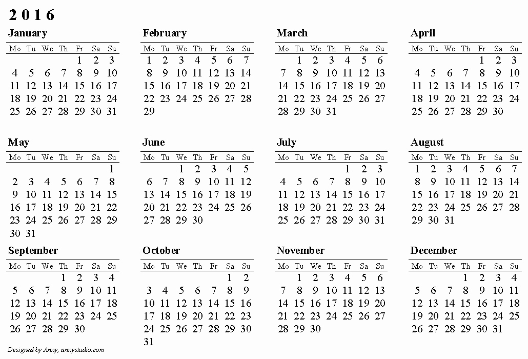 Free Downloadable 2016 Calendar Template New Calendars 2016 to Print