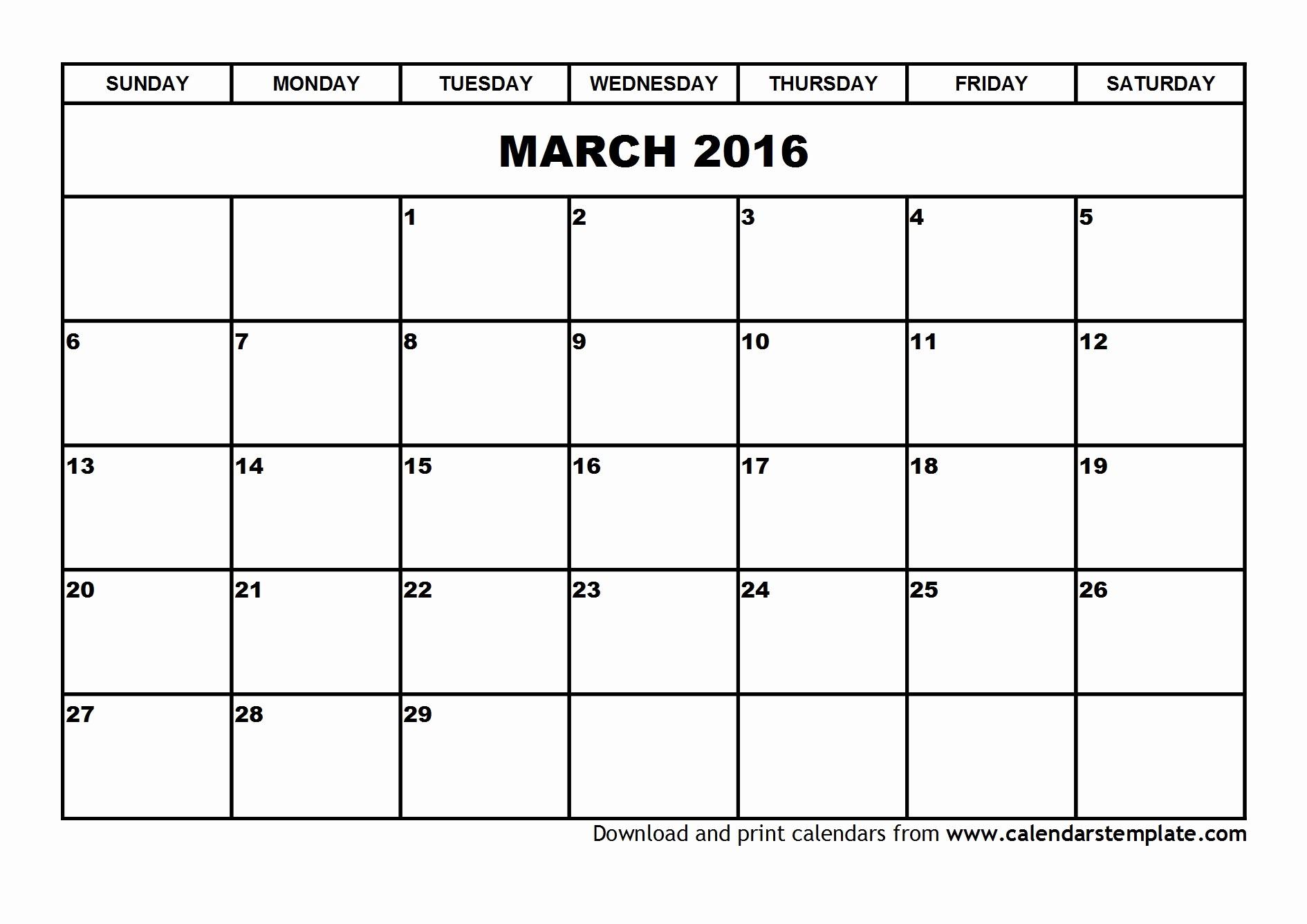 Free Downloadable 2016 Calendar Template New March 2016 Calendar Template