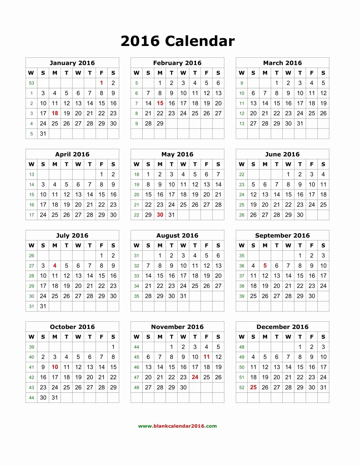 Free Downloadable 2016 Calendar Template New Yearly Calendar 2016 Template – Templates Free Printable