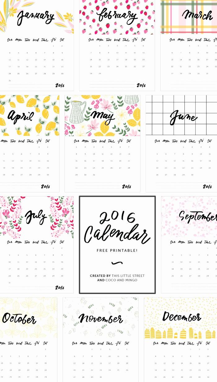Free Downloadable 2016 Calendar Template Unique 2016 Calendars to Print Free No Downloads