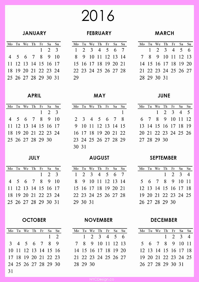 Free Downloadable 2016 Calendar Template Unique New York Web Design Studio New York Ny 2016 Calendar