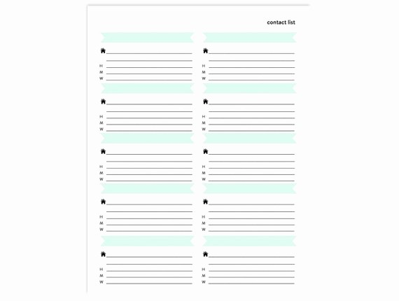 Free Downloadable Address Book Template Beautiful Contact List Printable Address Book Page Instant Download