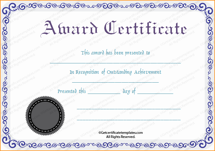 Free Downloadable Award Certificate Templates Awesome Free Printable Silver Award Certificate Template