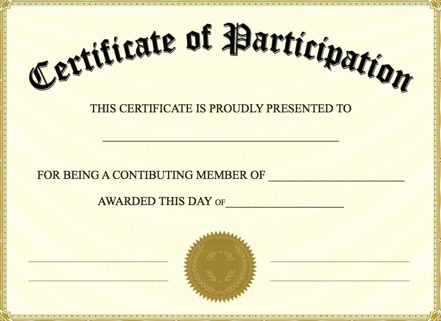 Free Downloadable Award Certificate Templates Beautiful Printable Participation Templates