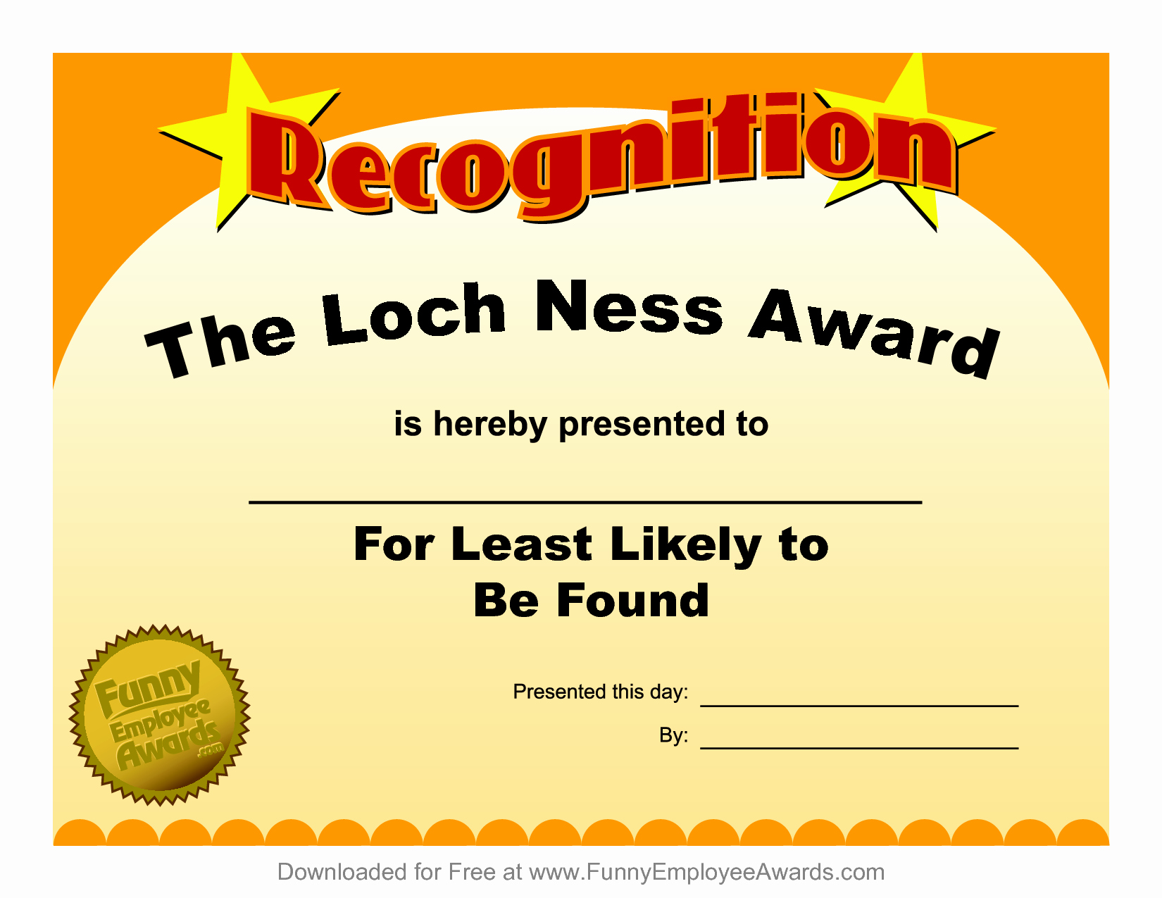 Free Downloadable Award Certificate Templates Elegant Funny Certificates for Employees 4 Funny Award