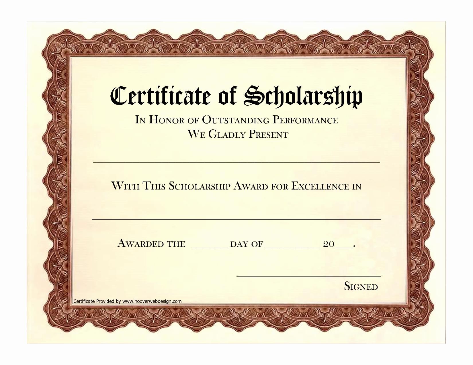 award certificate template free scholarship award certificate template
