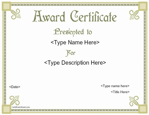 Free Downloadable Award Certificate Templates Inspirational Award Templates Free Printable