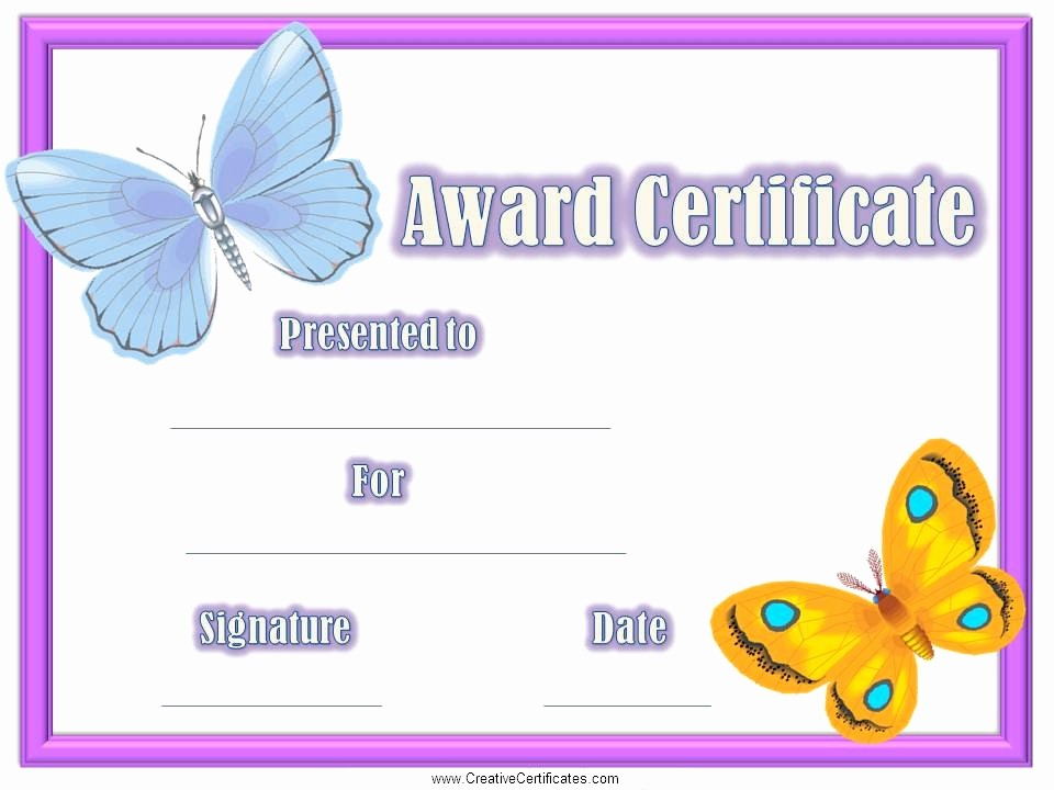 Free Downloadable Award Certificate Templates Inspirational Free Certificates for Kids