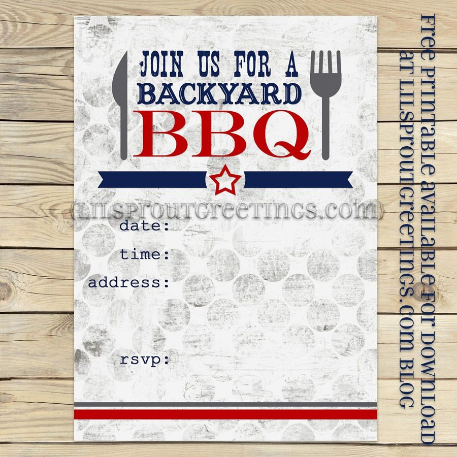 Free Downloadable Bbq Invitation Template Elegant Free Printable Bbq Party Invite Lilsproutgreetings Free