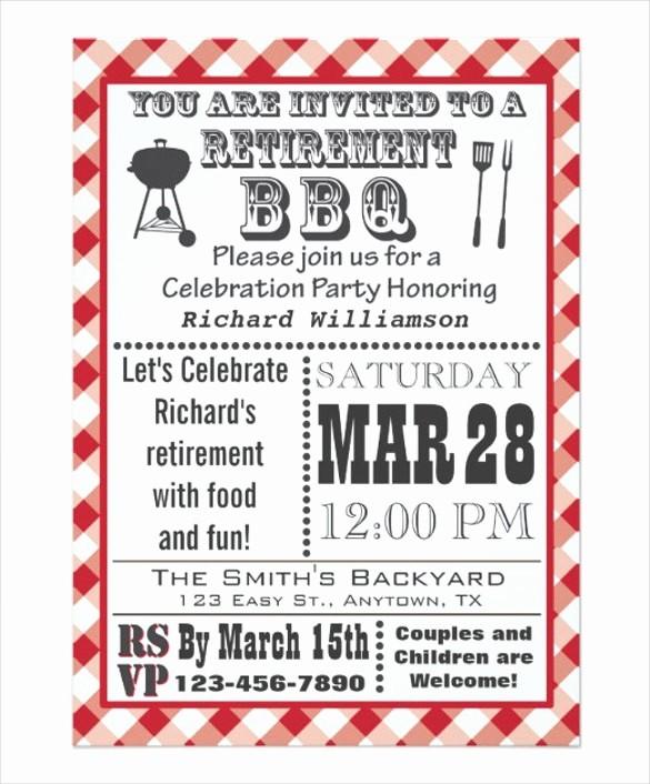 Free Downloadable Bbq Invitation Template Fresh 36 Retirement Party Invitation Templates Psd Ai Word