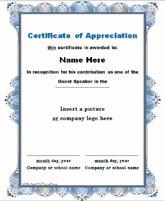Free Downloadable Certificates Of Appreciation Beautiful 30 Free Certificate Of Appreciation Templates and Letters