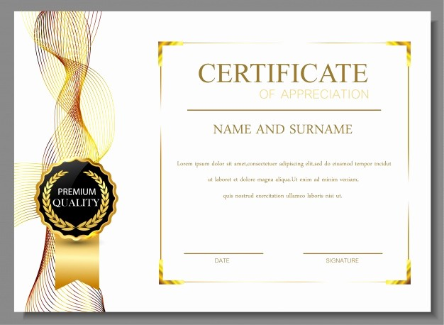 Free Downloadable Certificates Of Appreciation Elegant Certificate Of Appreciation Design Vector