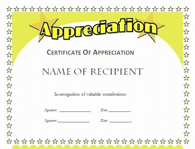 Free Downloadable Certificates Of Appreciation Fresh Employee Recognition Certificates Free Download Printable