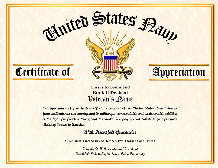 Free Downloadable Certificates Of Appreciation Lovely Military Certificate Appreciation Template