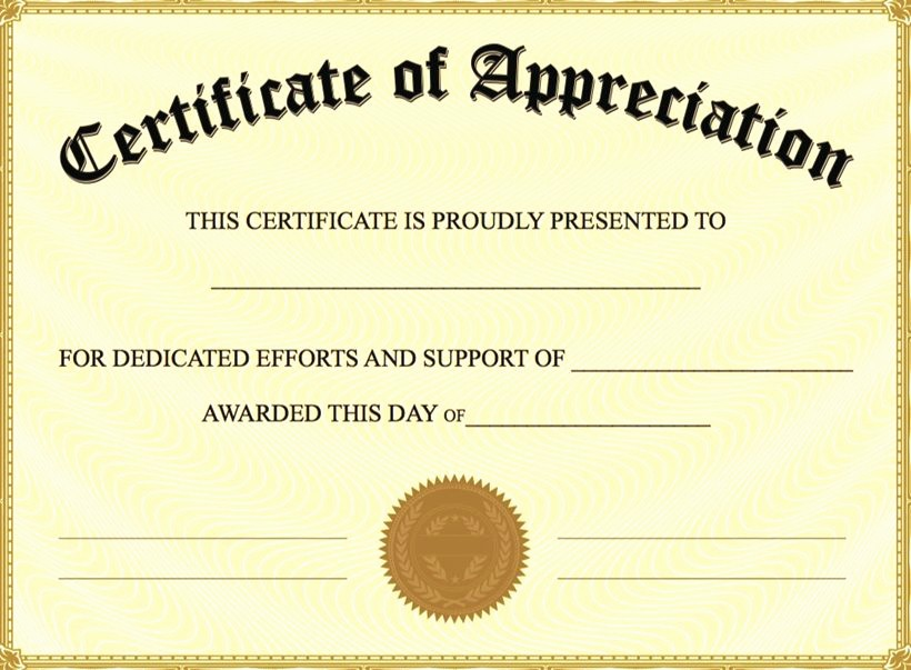 Free Downloadable Certificates Of Appreciation Luxury Certificate Of Appreciation Template Free Printable