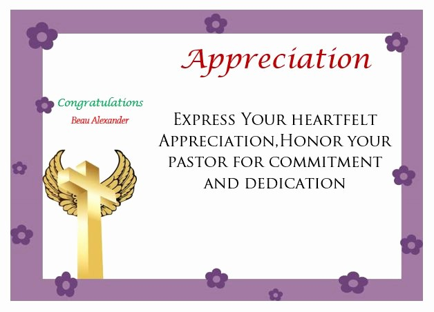 Free Downloadable Certificates Of Appreciation Unique thoughtful Pastor Appreciation Certificate Templates to