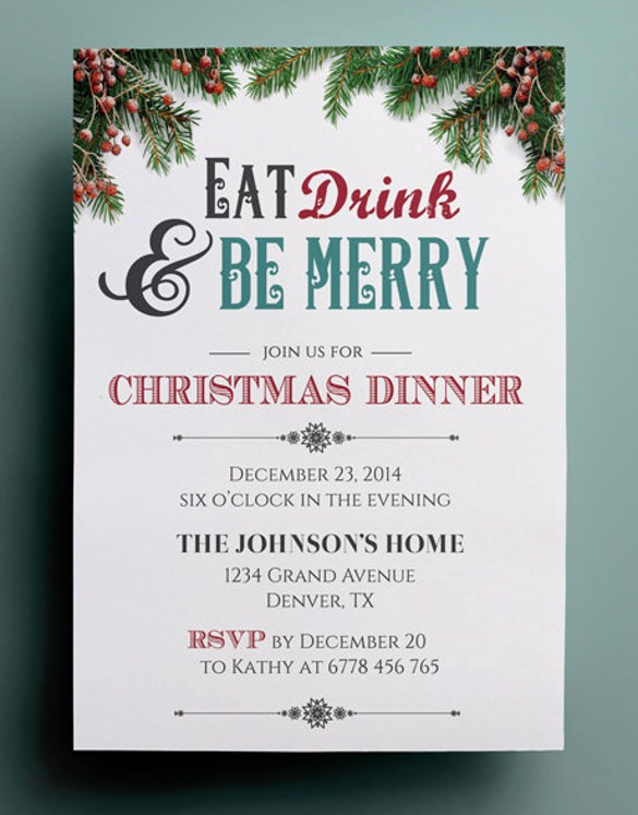 Free Downloadable Christmas Invitation Templates Awesome 49 Dinner Invitation Templates Psd Ai Word