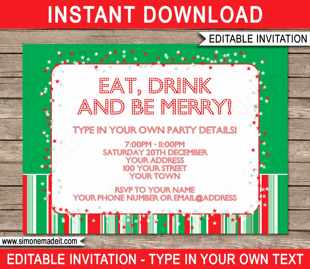 Free Downloadable Christmas Invitation Templates Elegant Christmas Party Invitations Template