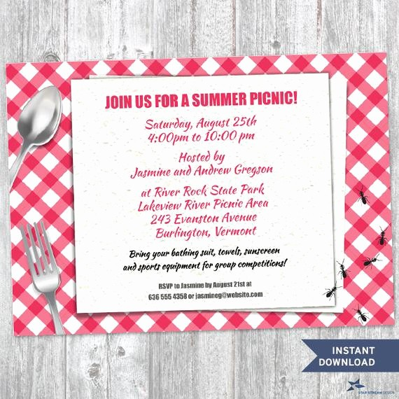 Free Downloadable Picnic Invitation Template Awesome Printable Red Gingham Summer Picnic with Ants Party