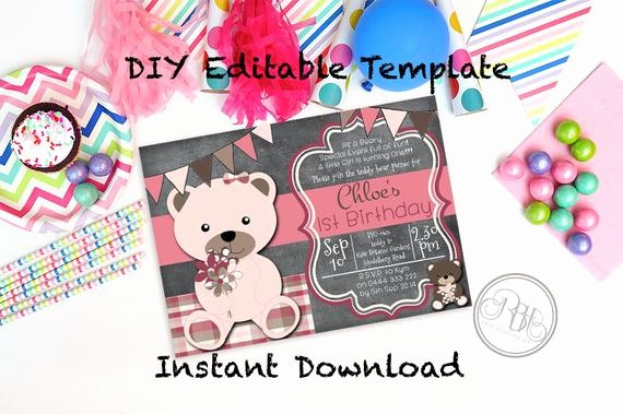 Free Downloadable Picnic Invitation Template Elegant Teddy Bear Picnic Birthday Invitation Baby Shower Instant