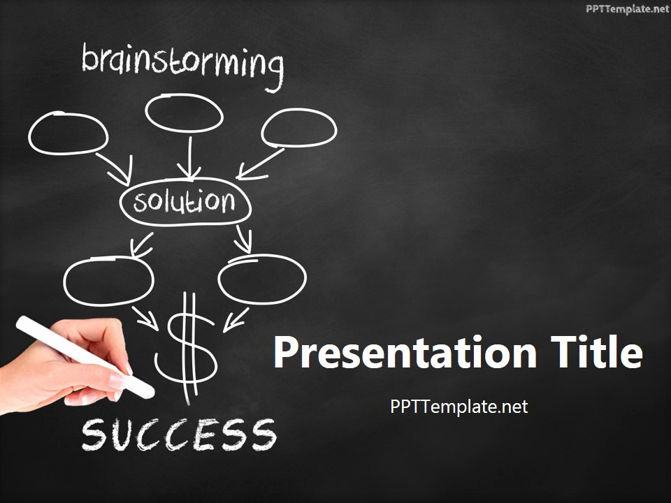 Free Downloadable Powerpoint Presentation Templates Beautiful Free Brainstorming Success Chalk Hand Black Ppt Template