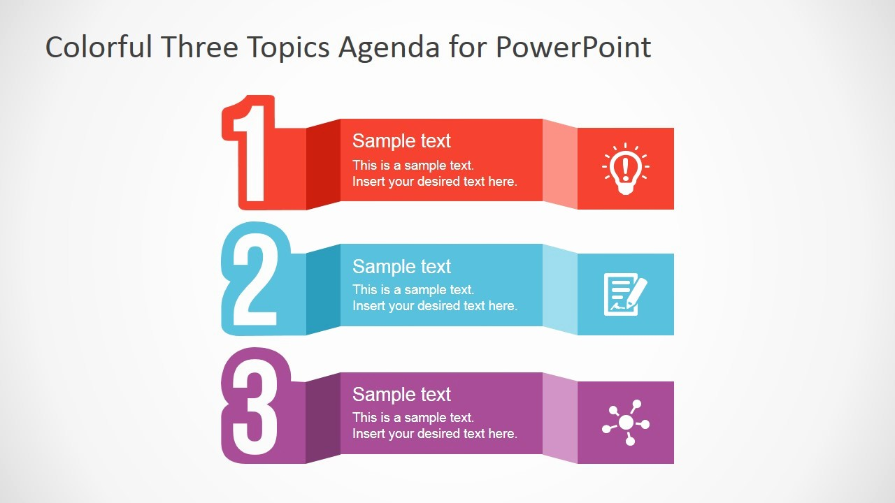 Free Downloadable Powerpoint Presentation Templates Unique Free Colorful Three topics Agenda for Powerpoint Slidemodel