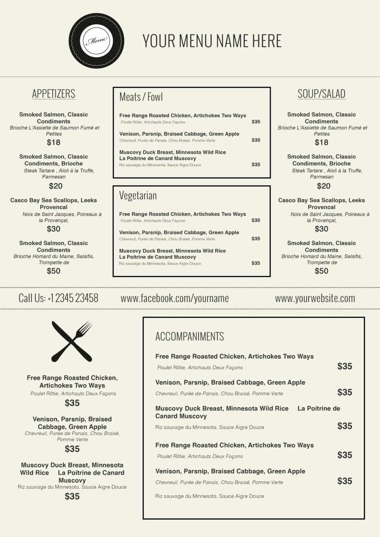 Free Downloadable Restaurant Menu Templates Awesome Design & Templates Menu Templates Wedding Menu Food