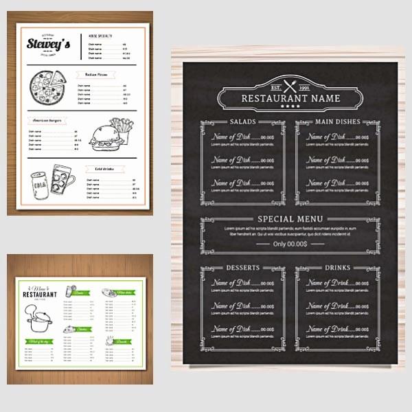 Free Downloadable Restaurant Menu Templates Beautiful Restaurant Menu Vector Templates