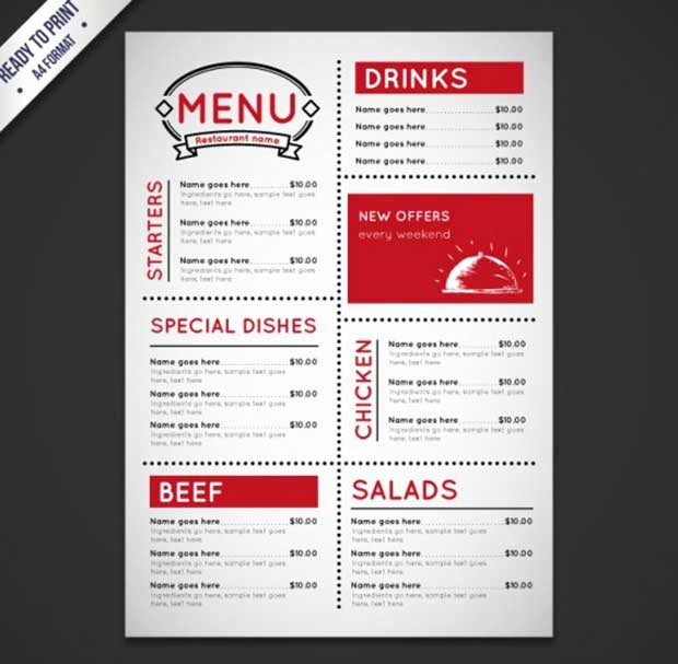 Free Downloadable Restaurant Menu Templates Inspirational 26 Free Restaurant Menu Templates to Download