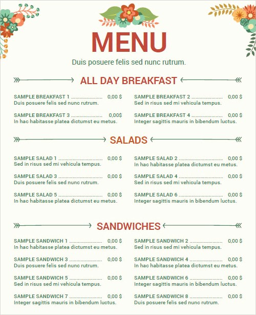 Free Downloadable Restaurant Menu Templates Inspirational 29 Menu Templates