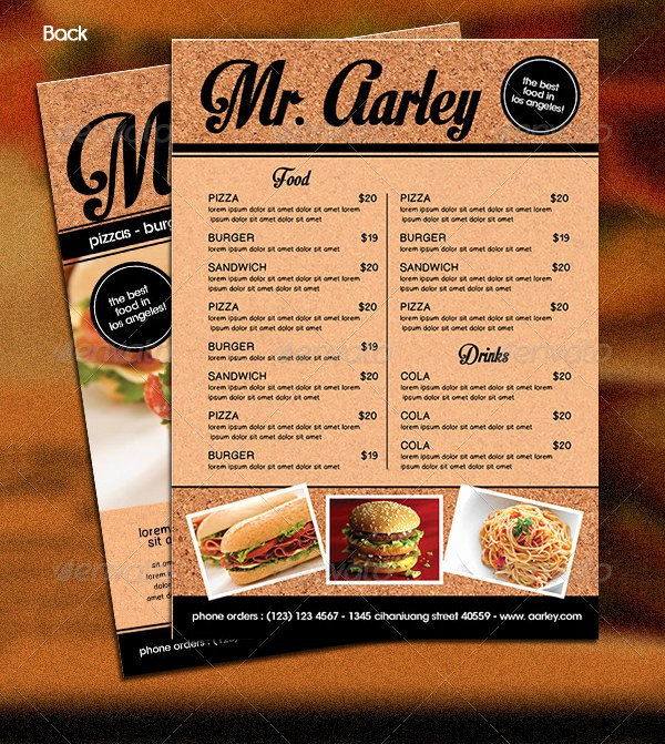 Free Downloadable Restaurant Menu Templates Inspirational Food Menu Template 36 Free Word Pdf Psd Eps