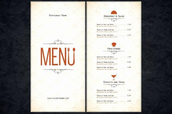 Free Downloadable Restaurant Menu Templates Inspirational Restaurant Menu Template 53 Free Psd Ai Vector Eps