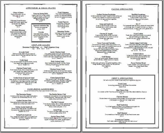 Free Downloadable Restaurant Menu Templates Luxury Free Restaurant Menu Templates