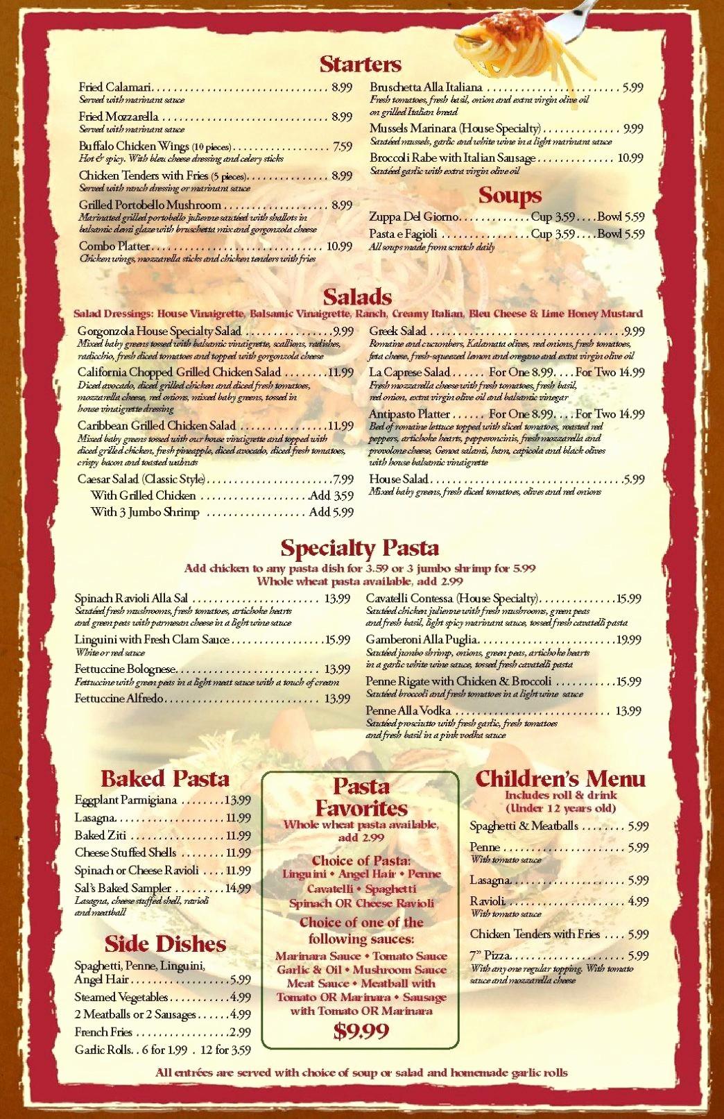 Free Downloadable Restaurant Menu Templates Unique Free Printable Restaurant Menu Template